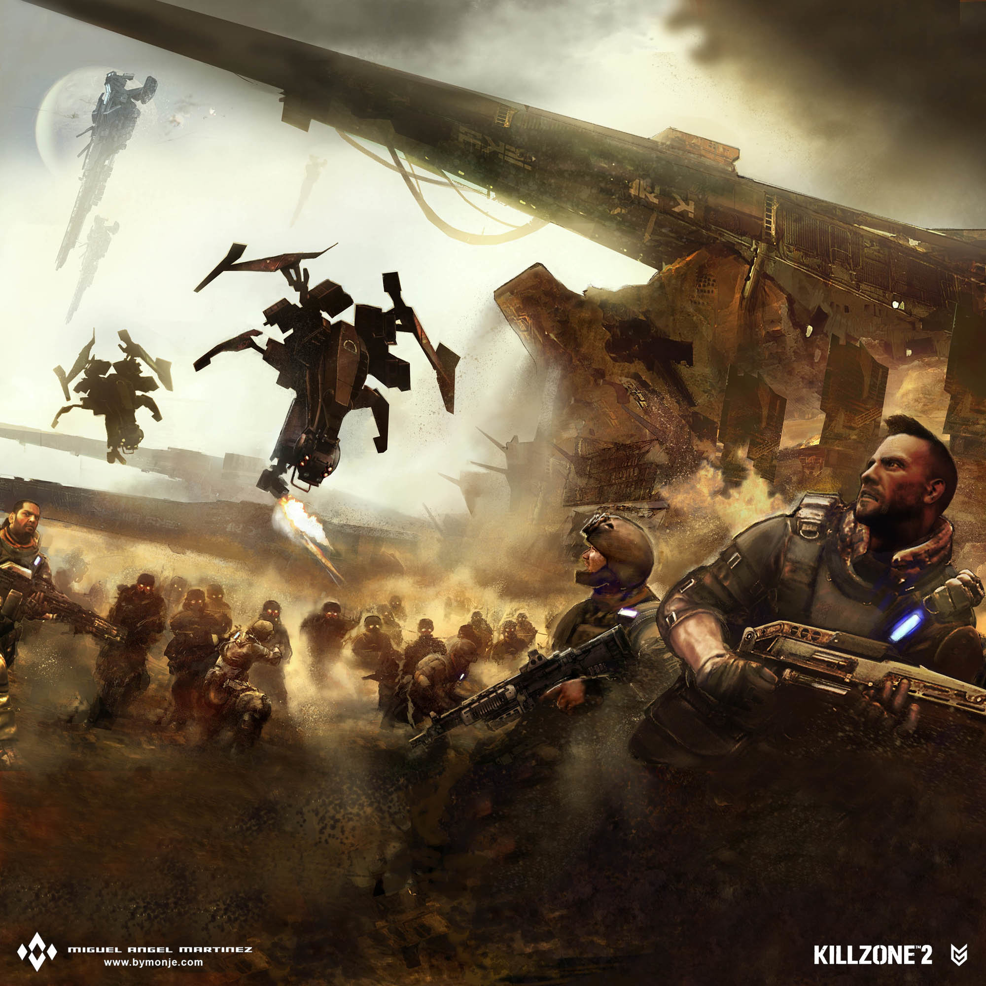 killzone 2 battle poster concept art miguel bymonje