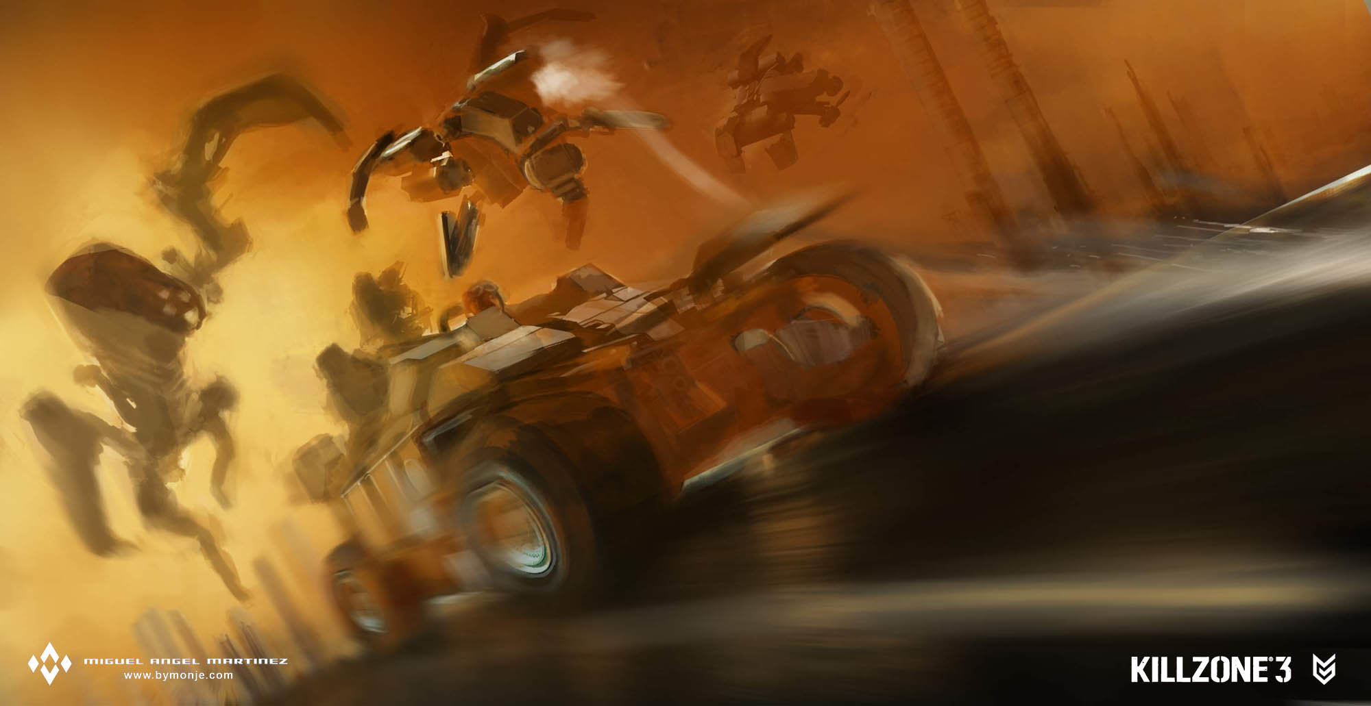 killzone 2 car chase sketch concept art miguel bymonje