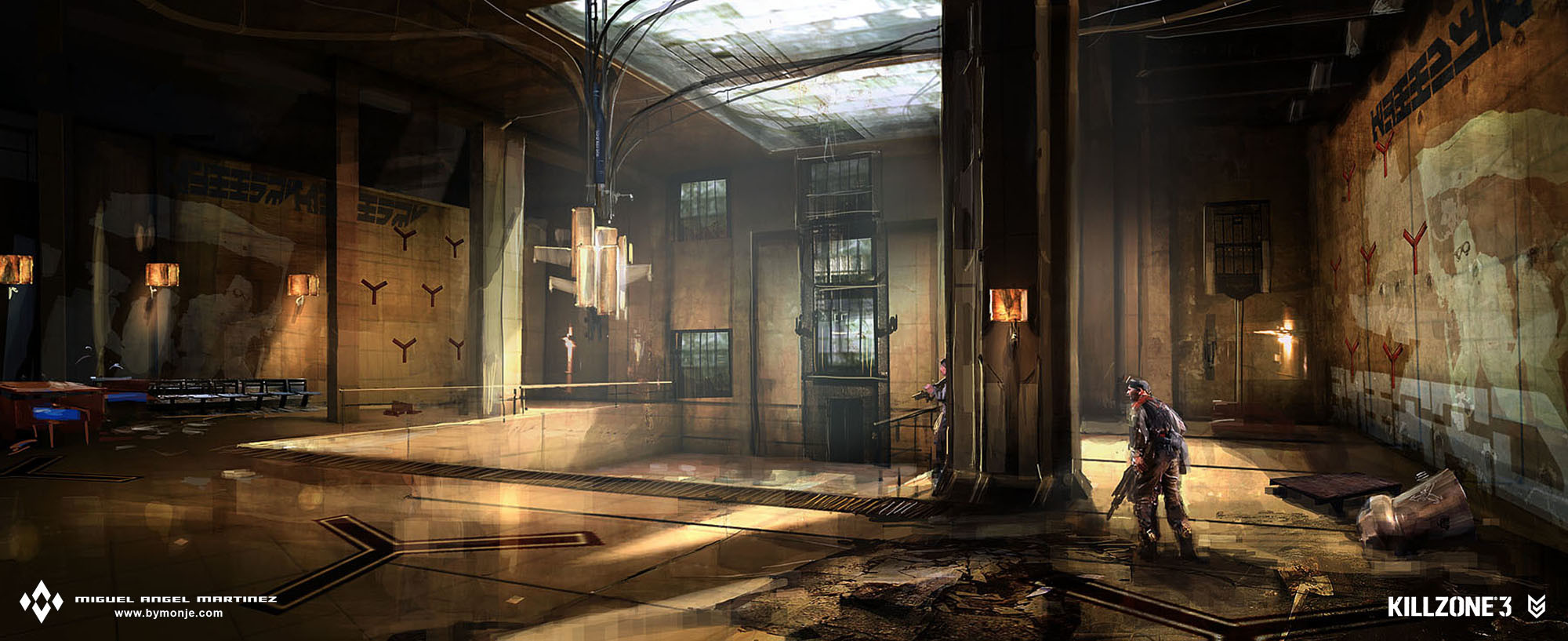 killzone 2 hall concept art miguel bymonje
