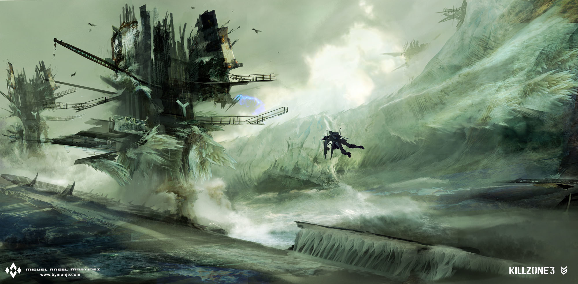 killzone 3 ice petrusite rig platform concept art miguel bymonje