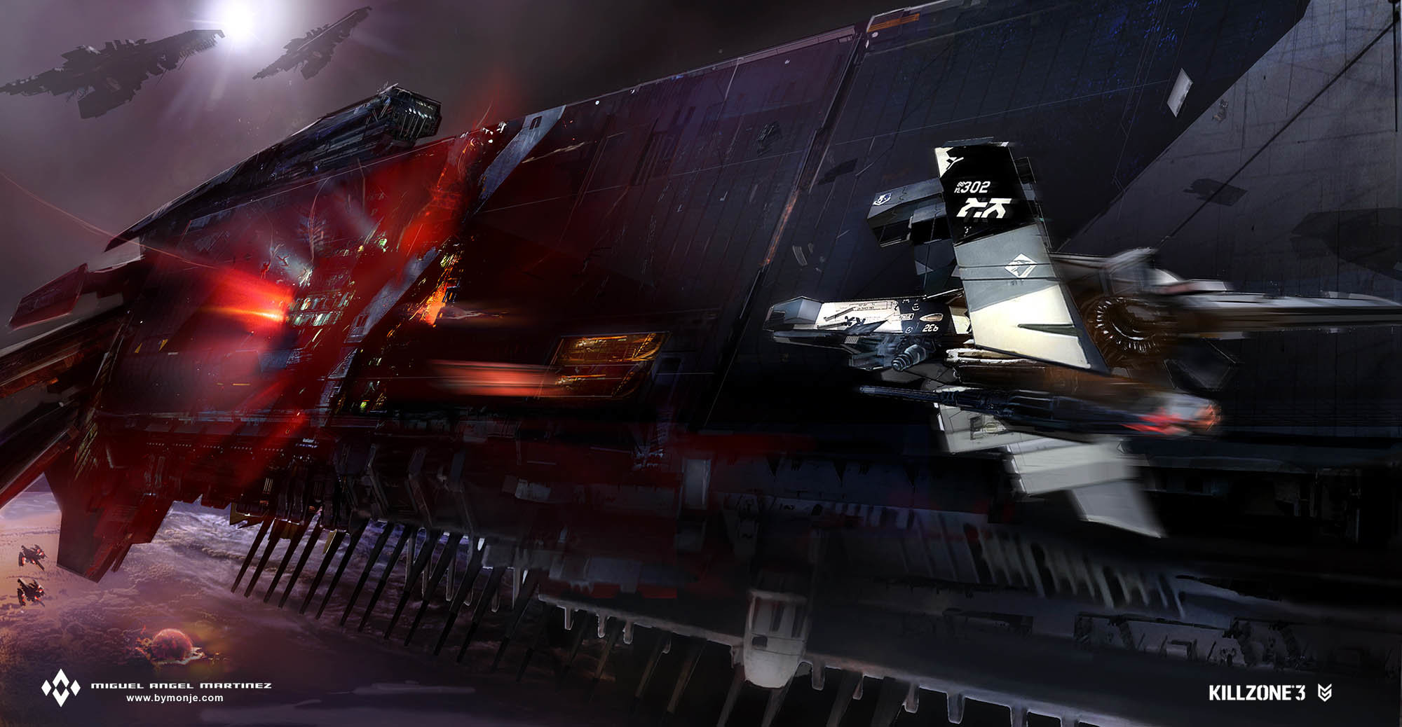 killzone-3-Stahl-cruiser-damaged-concept-art-miguel-bymonje